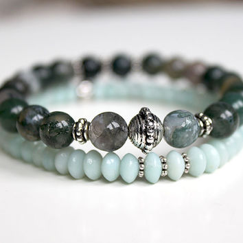 bead stretch bracelet, amazonite, moss agate / green turquoise