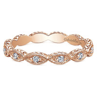14K Rose Gold Marquise Shaped Stackable Diamond Ring