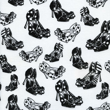 Shoes Black and White High Heels Timeless Treasures Fabric 1 yard