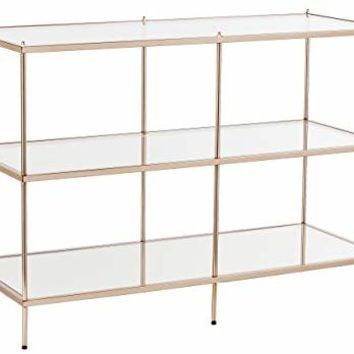 Knox Console Table - Metallic Gold Metal Frame w/ Glass Tops - Glam Style Décor