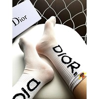 Dior 2019 new female models translucent gold line letters bee socks White