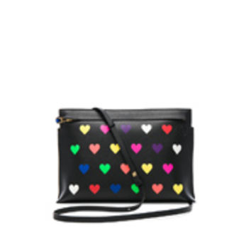 Loewe T Pouch Hearts Bag in Black & Multicolor | FWRD