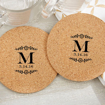 Personalized Round Cork Coasters - Botanical (Set of 12)