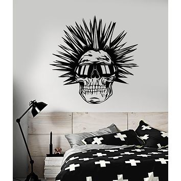 Vinyl Wall Decal Cool Punk Subculture Skull Sunglasses Mohawk Hairstyle Stickers (3158ig)