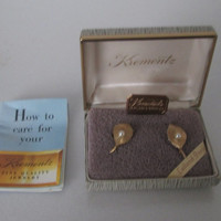 Krementz Screwback Earrings Gold Filled Pearl Original Box NOS