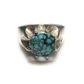 Vintage Turquoise Mans Ring Sterling Silver Size 10