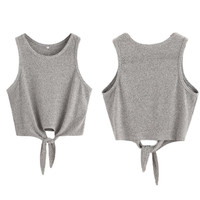 Summer Woman Tank Knit Plain Round Neck Sleeveless Tie Front Ribbed Crop Top