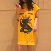 """Gucci"" Women Loose Casual Fashion Embroidery Monkey Letter Print Sleeveless Hooded Sweater Dress"