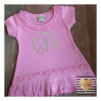 Monogrammed Custom Personalized Ruffle Dress Baby Girl Clothes Baby Girl Shirt Baby Clothes Baby Gift Sparkle Silver Glitter  #43