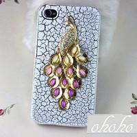 Golden Peacock Apple iPhone 4 case , iPhone 4s case, iPhone 4 Hard Case, White iPhone Case