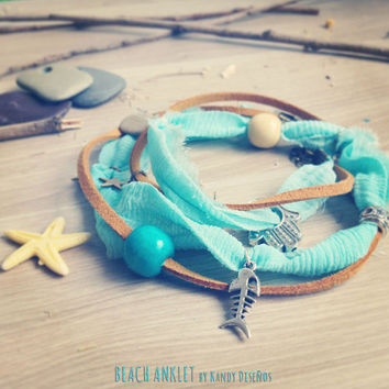 Beach Sari Silk Wrap Anklet. Hamsa Hand. Multiway 3 in 1 Necklace Bracelet Anklet Boho Beach Jewelry. Aquamarine Sari Silk. Beach Feeling