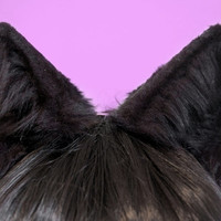 Black Faux Fur Wolf or Large Cat Ears