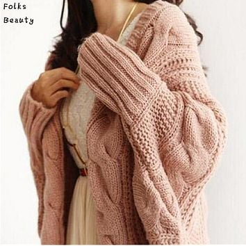 Knitted Cardigans Crochet Long Sleeve Batwing  Sweater