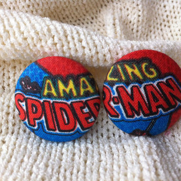 The Amazing Spider Man Fabric Button Earrings, Covered Button Earrings, Superhero Earrings, Cosplay, Comic Con Earrings