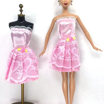 NK One Set Outfit Handmade Fashion Short Dress For Barbie Doll Dress Baby Girl Birthday new year Best Present for kids 055C