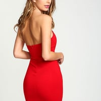 RED SWEETHEART STRAPLESS BODYCON KNIT DRESS