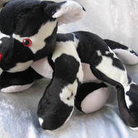 Cuddly Cow TEDDY BABY - black white toy bear cub with red nose - soft stuffed plush wild Animal - Handmade Unique Ooak
