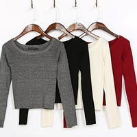 Winter Vintage Slim Knit Tops Pullover Strapless Long Sleeve Bottoming Shirt [8173419015]