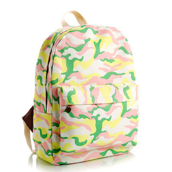 Animal Korean Canvas Lovely Striped Cute Stripes Floral Backpack = 4888029188