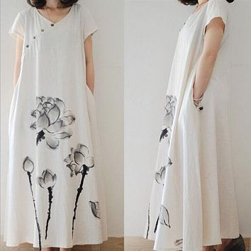 National Wind Summer Chinese Style Ink Printing Short-sleeved Dress Loose Big Size Cotton Linen Dress For Women CH-15