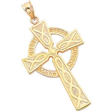 14k Solid Yellow Gold Celtic Cross Pendant, Celtic Cross, 14k Yellow Gold, Solid Gold, Religious, Irish, Cross, Celtic