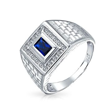 2CT Blue Emerald Cut AAA CZ Mens Engagement Ring Simulated Sapphire