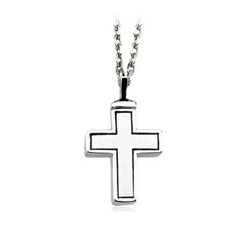 Rhodium Plated Sterling Silver Latin Cross Ash Holder Necklace, 18in