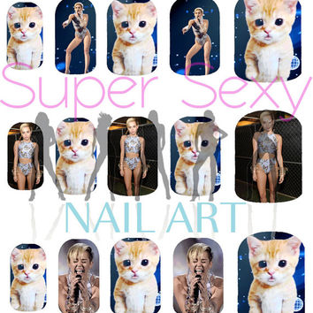 Miley Cyrus at the AMA's with Cats in Space Nail Art Water Transfer Decal - Waterslide Paper - Water Slide Paper