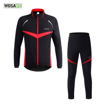 WOSAWE Men Thermal Winter Wind Cycling Jacket Windproof Waterproof Bike Bicycle Coat Clothing Long Sleeve Cycling Sets