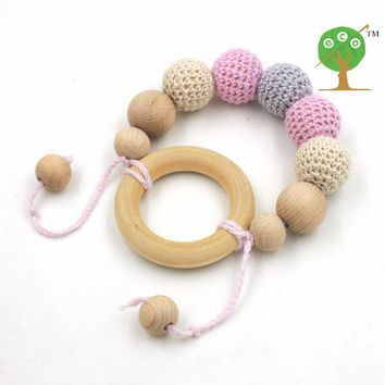 Newborn nursing toy gift, Baby Teething organic Mint  crochet beech wood montessori  20mm  elephant teether ET13