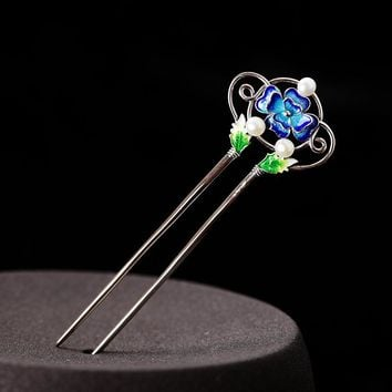 Cloisonne Thai Silver Hair Stick Enamel Silver Chinese Pearl Hairpin 2-prong Peony Flower Hair Fork Jewelry 100x33mm WIGO1150