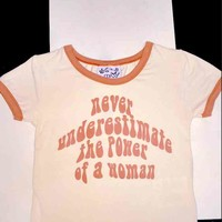 SWEET LORD O'MIGHTY! POWER OF A WOMAN RINGER TEE IN BROWN