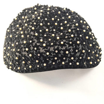 Vintage Hat/Caplet, Accented With Pearls and Rhinestones, Vintage Accessory, 1940's,1950's, Photo Shoot, Era Hat