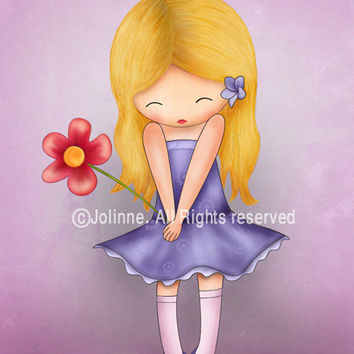 Children's Wall Art Print , Girl holding a flower , Illustration for girl's room decor