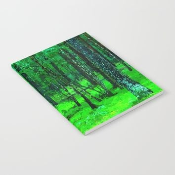 Green enchanted forest, magical nature, beautiful view, calm place, rich colors wild nature painting Notebook by Peter Reiss