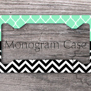 Custom License Plate Frame - Mint Moroccan pattern with Black chevron, personalized gift, monogram license frame -152