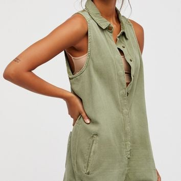 Free People Militaire Drill Playsuit