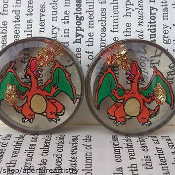 Charizard Flamethrower plugs, handdrawn pokemon plugs in 14mm and up