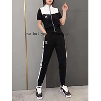 """""""Adidas"""" Woman Leisure Fashion Letter Personality Printing Spell Color Zipper Short  Sleeve Tops Trousers Two-Piece Set Casual Wear Sportswear"""