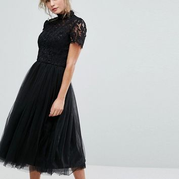 Chi Chi London high neck lace midi dress with tulle skirt at asos.com