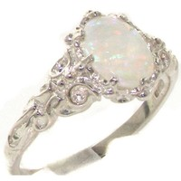 Luxurious Solid Sterling Silver Natural Opal Womens Solitaire Ring - Size 7 - Finger Sizes 4 to 12 Available
