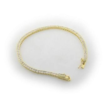 4mm Square-cut Cubic Zirconia Tennis Bracelet in Gold Plated Sterling Silver
