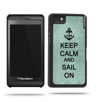 Keep Calm And Sail On Teal Floral Blackberry Z10 Case - For Blackberry Z10