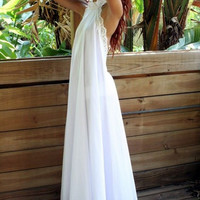 White Halter Lace Trim Maxi Dress