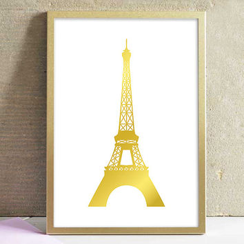 Printable Faux Gold Paris Eiffel Tower Art Poster Print French Decor Home Decor Office Decor Kitchen Decor Wall Art