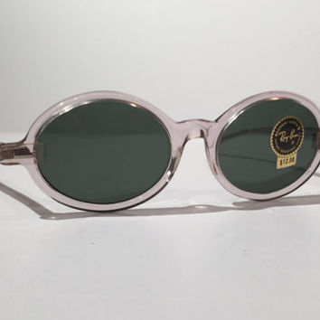 Vintage Ray Ban Sunglasses, Vintage 60s 70s Ray Ban Tenley Bausch and Lomb Clear Oval Sunglasses, NOS, New Old Stock, True Vintage, Awesome!