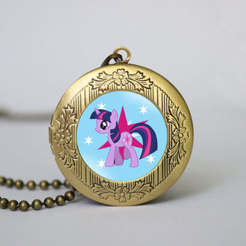 Twilight Sparkle My Little Pony vintage pendant locket necklace Twilight Sparkle locket necklace girlfriend boyfriend gift Bridesmaid Gift