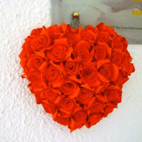 Lovely beautiful rose heart flower decor (red) handmade Paper Quilling, gift, Anniversary, Birthday, Mother's day, home decor