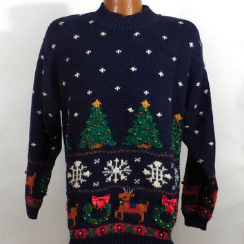 Ugly Christmas Sweater Vintage Tacky Holiday Party Wool Women's size M