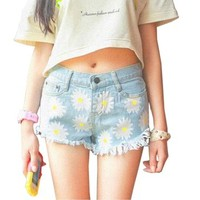 Easy Womens Retro Chrysanthemum Printing High Waist Tassel Denim Shorts Jeans
